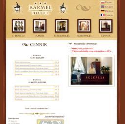 Hotel Karmel - Cennik